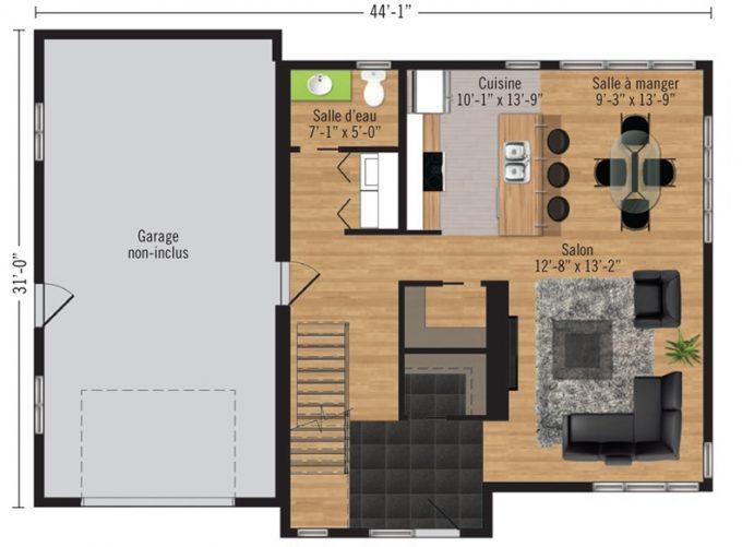 Plan du rez-de-chaussée du modèle Arabica de Pro-Fab