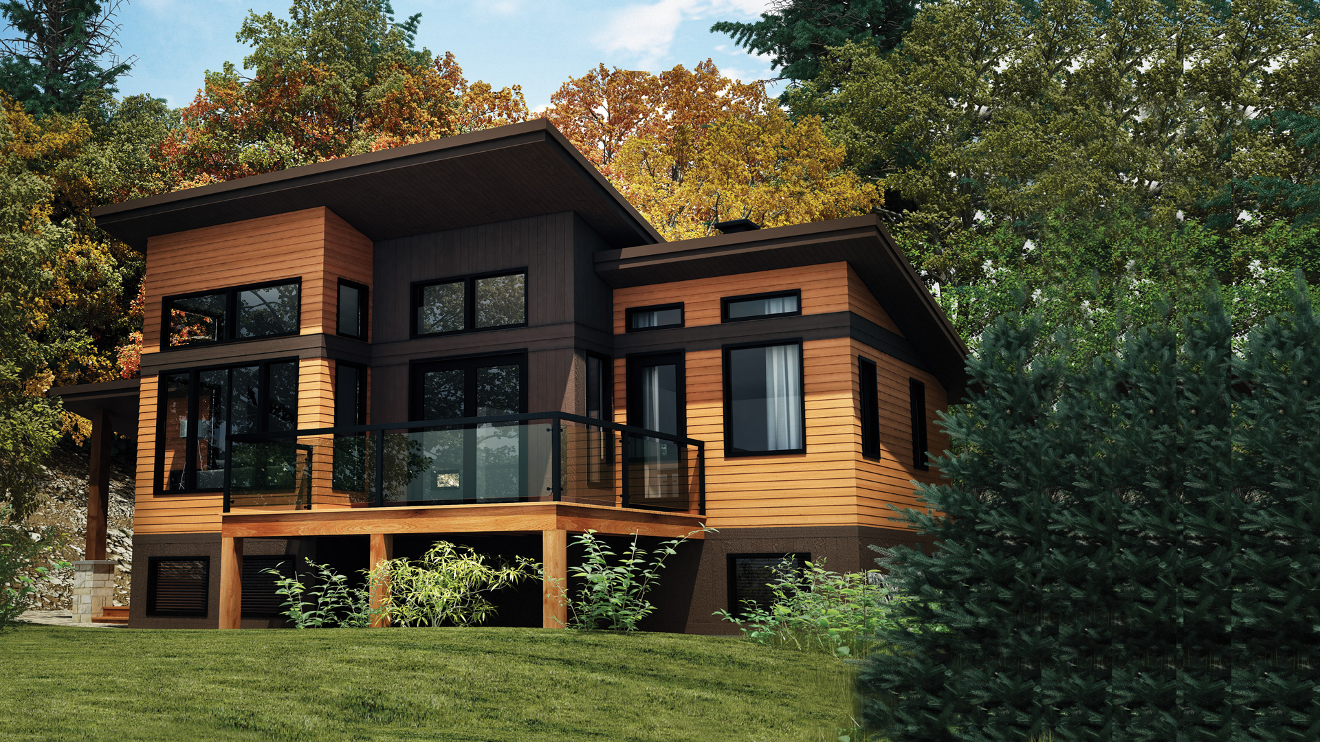 Panorama model recreational chalets pro fab is the for Style house pro