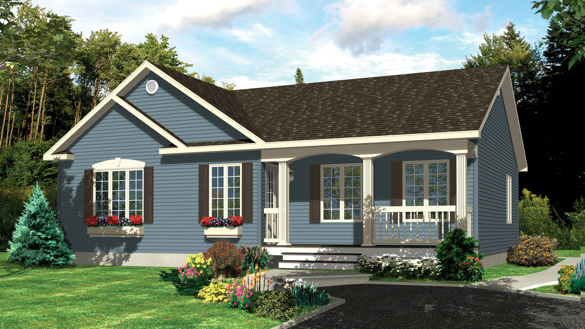 Mod le turquoise maison champ tre pro fab constructeur for Modele maison champetre