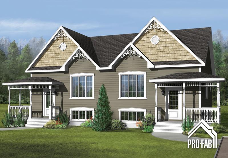 Mod le champ tre jumel maison champ tre pro fab constructeur de maisons modulaires et usin es for Maison modele profab