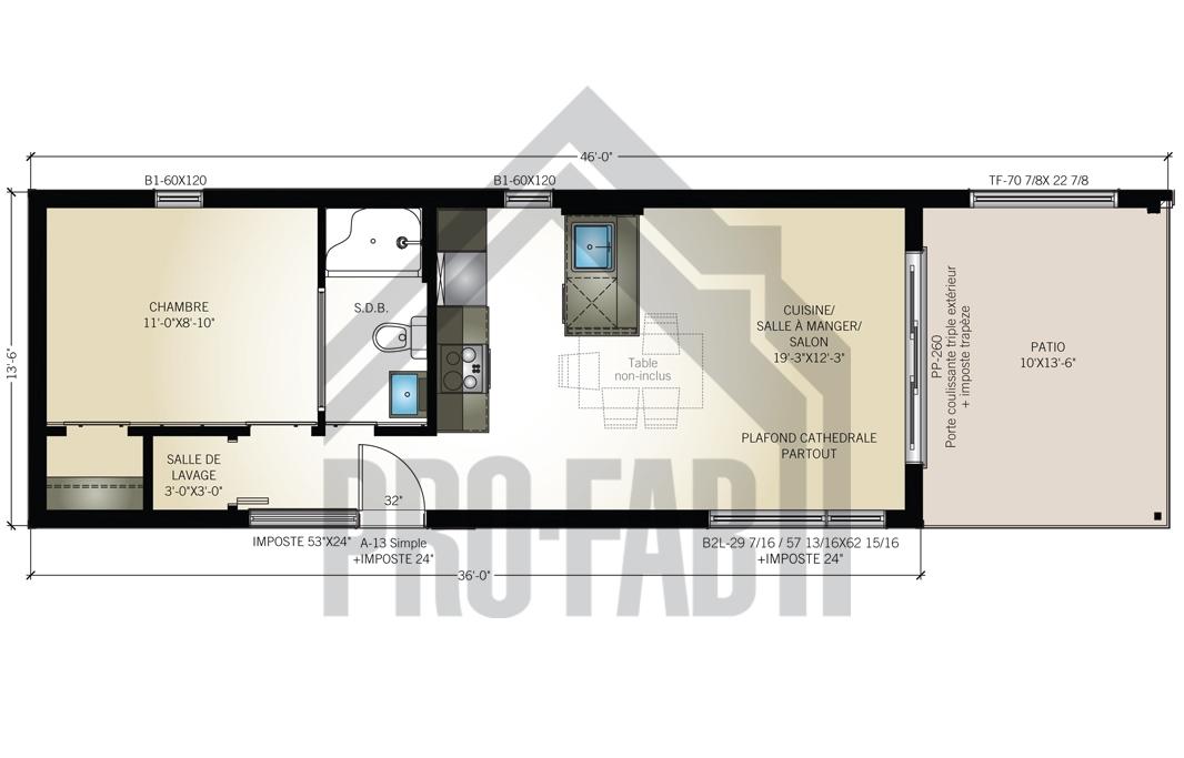 plan de maison unimodulaire