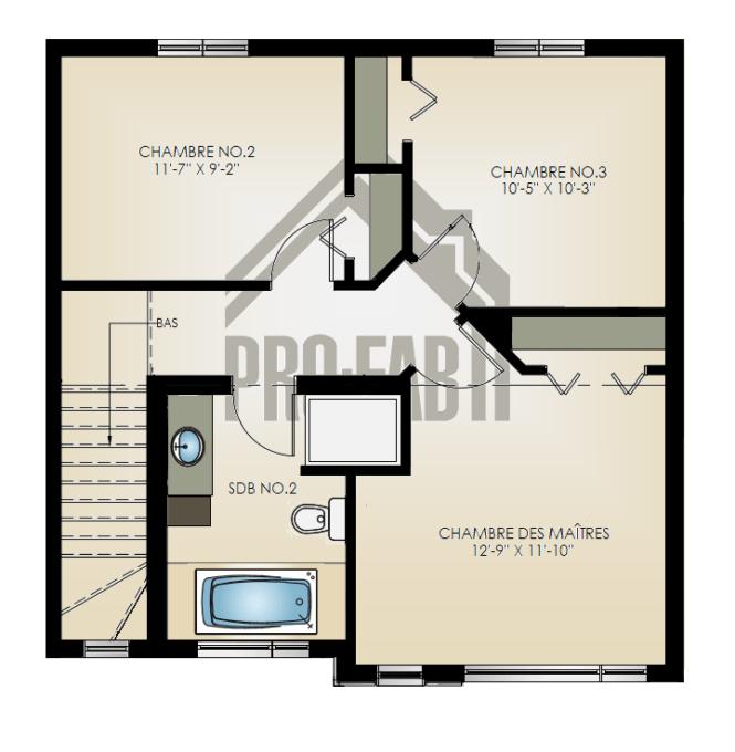 PRO-FAB - Plan 1e étage Modèle Luxura