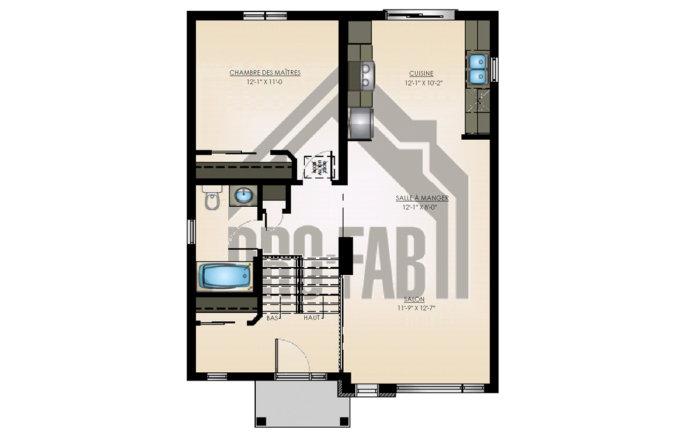 PRO-FAB - Plan rez-de-chaussée Modèle Mimosa 01